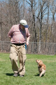 Don and Muppy practicing walking politely off-leash.